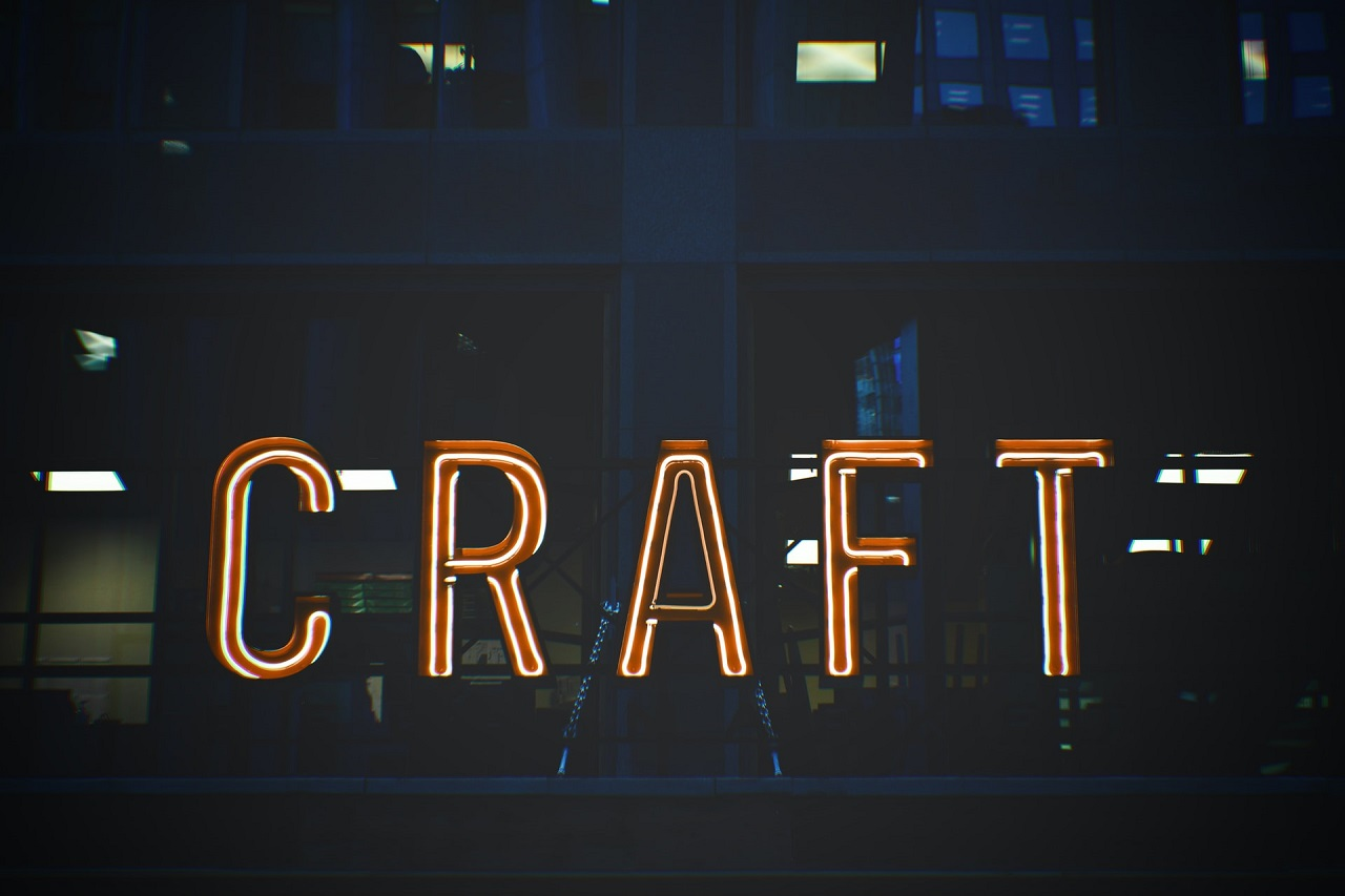 craft neon sign at night time